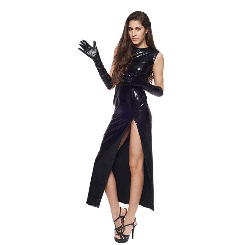 Sexy Fetish Black Vinyl Leather Bodysuit Lingerie Dress Erotic Bondage Latex Long PU Dress and Gloves Clubwea 2