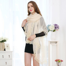 [POBING]2017 Cotton Lace Scarves Long Shawl and Wraps Solid Foulard Big Hijab High Quality Women Neckerchief 185cm*150cm