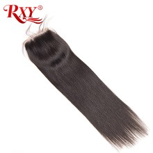 Buy RXY Brazilian Straight Lace Closure Free Part 4x4 Swiss Lace Remy Human Hair Closure Baby Hair Natural Black Color for $27.30 in AliExpress store