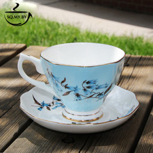 2016 High Quality Luxury Royal Bone China Coffee Cup Set European-Style Lily Of The Valley Milk Afternoon Tea Mug Creative Gift(China)
