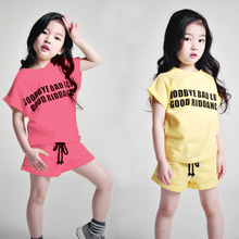 Girls set the summer children's clothing 2017 new children's Korean short-sleeved t-shirt with short two pieces sport set