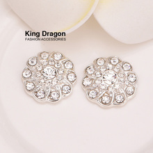 Crystal Rhinestone Embellishment Used On Decoration 13MM 20pcs/lot Silver Color As Flower Center Flat Back