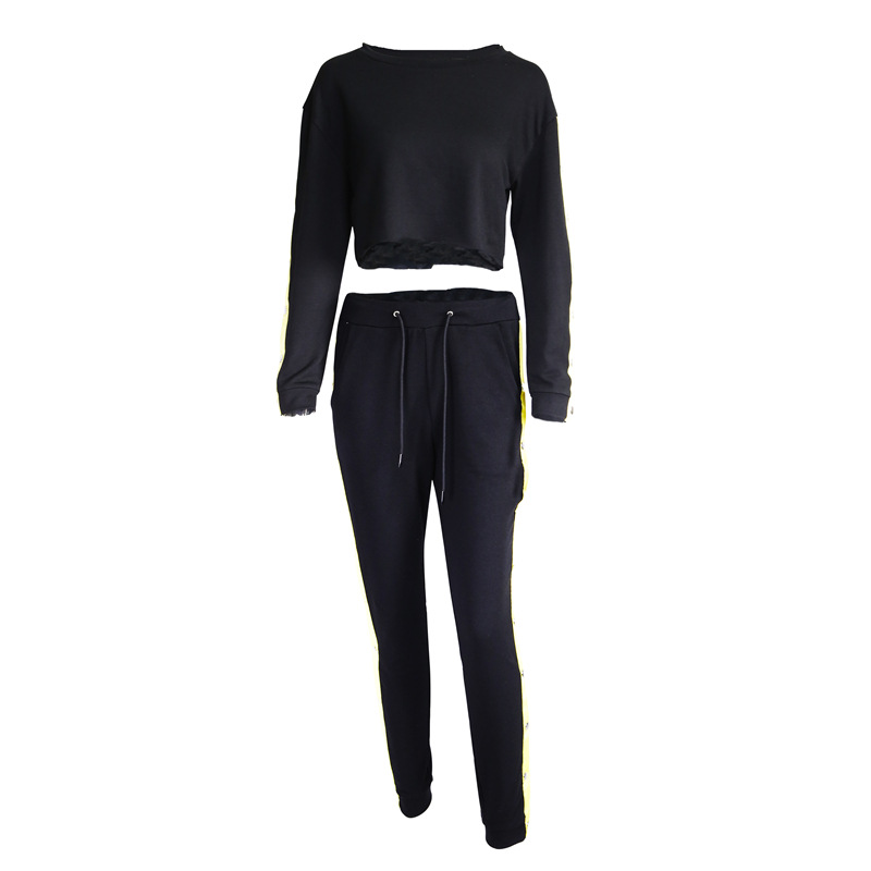 Women's Two Piece Set, Sweater Shirt Hoodie, Black Side Stripe Pants 22