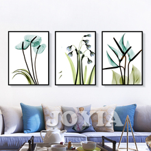 Abstract Botanical Prints Set of 3 Blue Calla Paint Printable Transparent Flowers Floral Wall Art Canvas Decor Room Home Kitchen