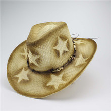 Classic Cattleman Straw Cowboy Hat With Wooden Beads Plastic Star Hot Stamping Cowboy Hats For Men And Woman(China)