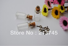 Popular 24*12*6mm  Glass Bottle Pendant With Cork & Bronze Eyehook  (perfume/bottle/vial/wish/charm/bottle) Summer girl's gift