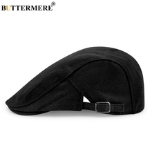 BUTTERMERE Black Wool Beret Men Women Winter Ivy Cap Duckbill Director Adjusted Casual Flat Cap Solid French Hat(China)