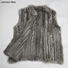 Jancoco Max S1401 Thick Knitted  Lady Real fur vest Rabbit fur knitted gilet women winter warm fashion fur jacket High quality