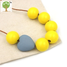 Geometric Wooden Bead maxi bead Necklace Natural Modern Tribal grey heart shape pendent necklace STATEMENT grey yellow NW199