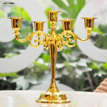 Metal Silver/Gold Candlestick Candle Holders 5-Arms Stand Zinc Alloy High Quality Pillar For Wedding Portavelas Candelabras 028(China)