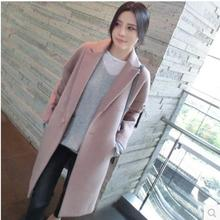 Winter College Style Long Cocoon Wool Woolen Thickening Women Overcoat Lilac S/M/L/XL/XXL