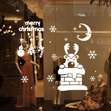 2016 Christmas Deer shop window decoration stickers glass Christmas ornaments accessories window sticker 72x62cm CP1021