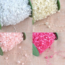 Fishing Line Pearl Heart pattern plastic Beads Chain Garland Flowers DIY Wedding Party Decoration 3 Meters CP1127x(China)