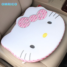 New Arrivals Creative Cute Cartoon Kawaii Hello Kitty Face Car Office Seat Cotton Plush Cushion Mat Car Seat  Auto Accessories