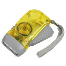 Hand Cranked 30lm 3-LED White Light Dynamo Flashlight LED Lamp Portable Light with Strap(China)