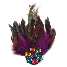Purple Peacock Feather Crystal Rhinestone Hair Clip Fascinator