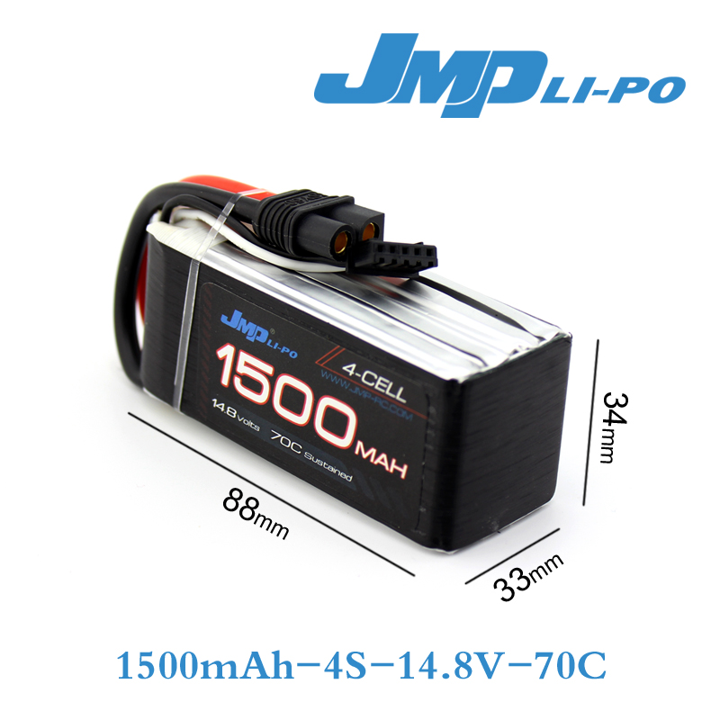 JMP Lipo Battery 1500mAh 14.8V 70C(Max 140C) 4S RFI Lipo Battery Pack for RC Hobby with free shipping<br>