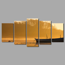 High quality yellow tree river boat 5 pcs Landscape Decoration ship by the lake Canvas Painting on wall art pictures home decor(China)