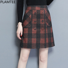 Buy PLAMTEE High Waist Plaid Mini Skirt Women Button Pockets Sexy Jupe A-Line Skirts Skinny Saia Autumn Winter Faldas 2018 New Etek for $15.99 in AliExpress store