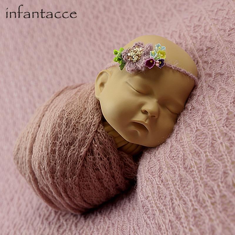 newborn backdrop blanket+wrap+headband set Newborn photography props blanket wraps hammock wrap-props baby flower headband  <br>