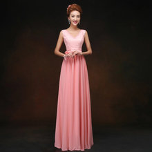 chinese modest elegant bridesmaid dresses bride maids under 50 sexy new fashion 2017 v neck dress bridesmaids long D1880