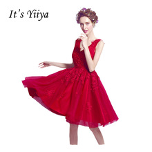 It's Yiiya Red Popular Sleeveless V-Neck Cocktail Dresses Luxurious Lace Beading Embroidery Vintage Cocktail Dress QXN046(China)