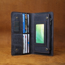 ALAVCHNV cowhide handbag vintage mad horse leather wallet phone leather handmade art wallet Q056