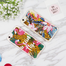 Dynamic Liquid Glitter QuickSand Phone Cases For iPhone 7 6 6s 6plus 7plus Cases Bling Flamingo Sunglasses Flow Sand Clear Cover(China)