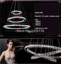 Free shipping Hot sale Diamond Ring LED Crystal Chandelier christmas Light Modern Pendant Lamp 3 Circles