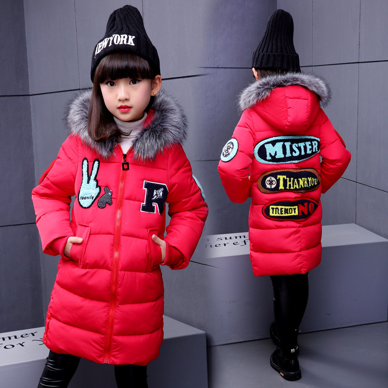 High Quality Children Warmer Winter Kids Girl Imitated Parka Down Jacket With Fur Hood Letter Print Winter Girl Coat OuterwearОдежда и ак�е��уары<br><br><br>Aliexpress