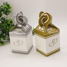100 pcs European wedding favor candy box gold/ silver hearts large paper gift candy box(China)