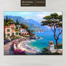 Mediterranean Oil Painting On Canvas For Home Decor Europeanism Landscape Handmade Sea Scene Picture Hand Painted Painting(China)