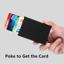 Thin and light Aluminium alloy Business name card credit card holder hand Spring cardcase poke out convenient Wallet Box case