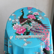 peacock design fabric for dress sleepwear clothing soft satin material sewing blue peafowl print fabric satin(China)