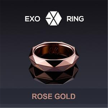 Fashion Trendy Idol Celebrity Inspired Exo Jewelry Star Gold Tone Stainless Steel Engraved Kpop EXO Jewels k-pop finger ring exo