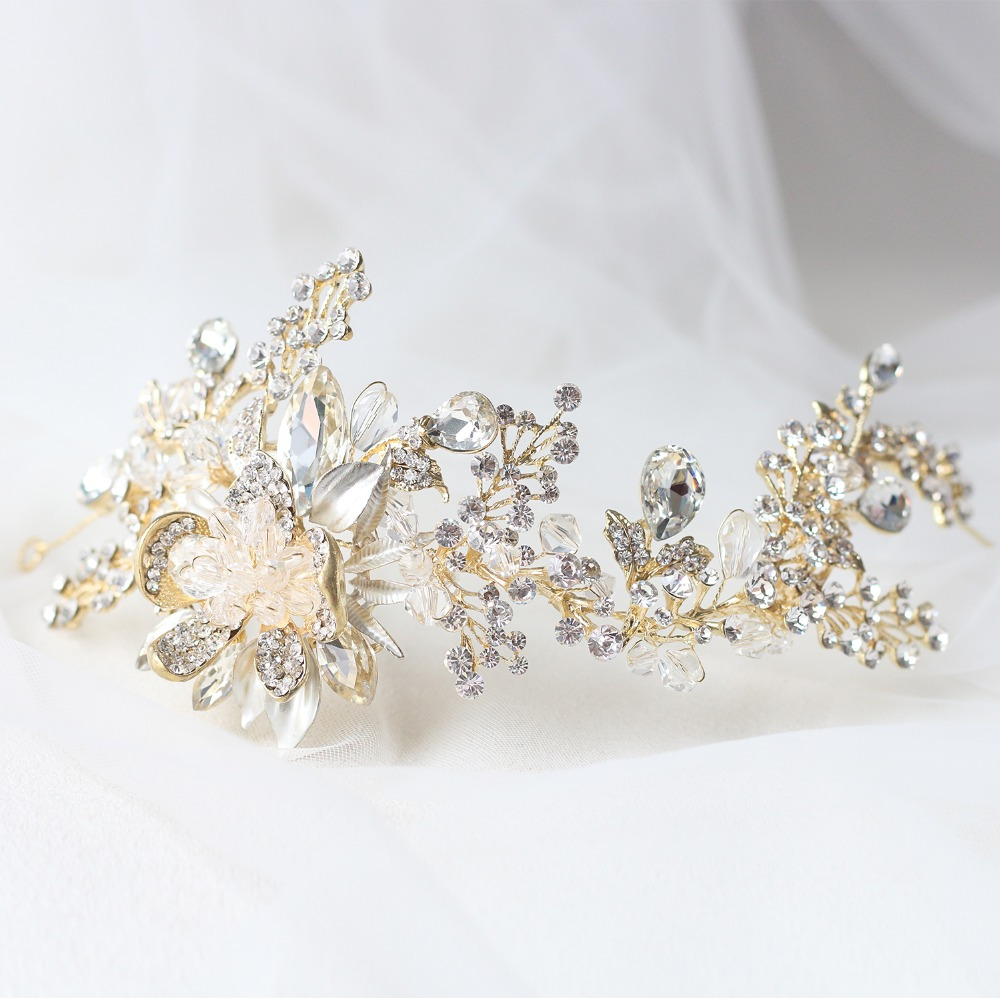 ASNORA Stylish Wedding Hair Bands Bridal Headbands Gold Handmade Metal Flower with Big Shiny Crystals Beads tocado novia