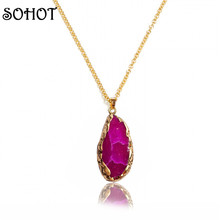 SOHOT 2017 Fashion Jewellery Accessories Natural Druzy Stones Pendant Necklaces Gold Chain Gifts for Women Femme Birthday