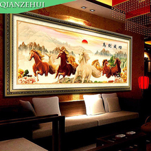 QIANZEHUI,Needlework,DIY 3d the rising sun cross stitch, Eight fine horses cross-stitch,success immediately upon arrival