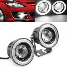 Convenient 2PCS 3inch 30W 12V 76mm LED Car DRL Projector Fog Light Lamp W/COB Angle Eye Ring White circles white