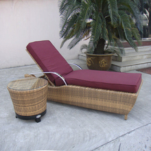 2pcs Waterproof Cane Sun Lounger , Resin Wicker Chaise Lounge Set transport by sea(China)