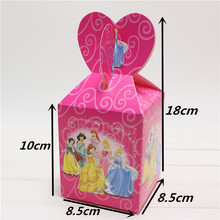 6pcs/lot Princess Cartoon Paper Candy Box Sweets Gifts Girl Kids Birthday Party Decoration Chocolate Boxes Souvenir Bag Supplies