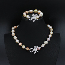 11-13mm Baroque Pearl Necklace+Keshi Pearl Bracelet(2Pieces Pearl Jewery Set) Silver Plated Bowknot Clasp Pearl Jewelry Gifts