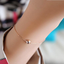 crystal a particular single drill 18 k Mosaic gold titanium steel rose gold bracelet female were bangles bracelets for women(China)