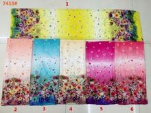 150cm width printed soft chiffon fabric flowers pattern for scarf and headband LS-J7410