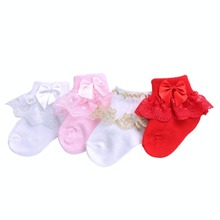 4 pairs/lot 2017 Ruffled Lace Newborn Baby Socks Cotton Infant Socks For Baby Girls;Birthday Princess Short Bow Chaussette Bebe(China)