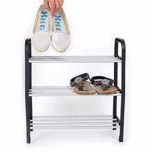 Hot sell multilayer Superior 3 Tiers Plastic Shoes Rack Storage multi-function Organizer Stand Shelf Holder woven simple shoe(China)