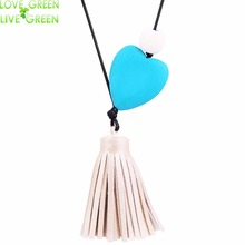 germany handmade necklace wood block heart shape rope chain 100 cm for girl boy best gift 3631