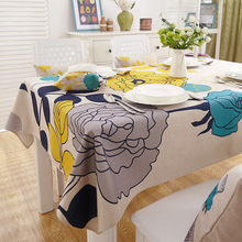 Thick Floral Pattern Table Cloth American Village Square Rectangle Cotton Linen Tablecloth Cover for Party Hotel Home