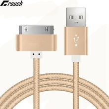 30 Pin Nylon Braided Mobile Phone USB Charging Cables For iPad 2 3 iPod Metal Plug Sync Data USB Charger Cable For iPhone 4 4s(China)