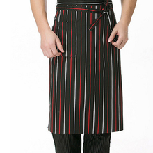 Black White Fashion Men Male Stripes Squares Knief Fork Print Apron Half Apron With Pockets Chef Waiter Kitchen Cook Apron